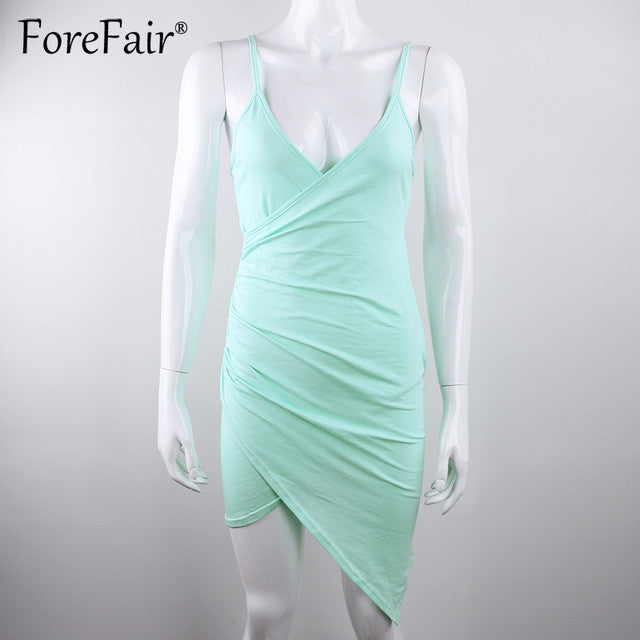 Forefair Sexy Criss Cross Fold Spaghetti Strap Dress 2017 Summer