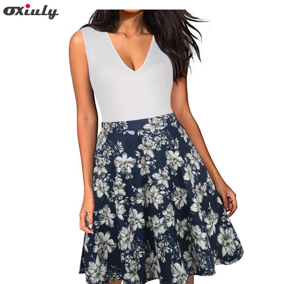 Oxiuly Women Floral Print Mini Dress V-neck Patchwork White Party