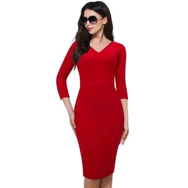 Nice-forever Vintage Deep V-Neck Bodycon Wear to Work Pencil Dress