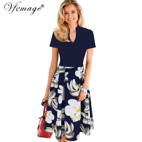 Vfemage Womens Elegant Floral Print Contrast Patchwork Tunic Vintage Casual Work Party Fit and Flare A-line Skater Dress 7132