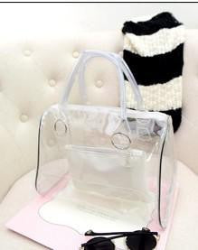 2017 fashion Women's Transparent beach  Bags  Summer Jelly Bag Crystal