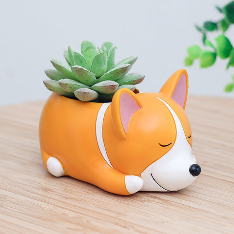 New 1pc Puppy World Resin Planter for Succulents Cute Corgi Mini Flower Pot Desktop Pot Jardin Bonsai for Home Garden Decoration