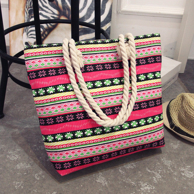 2017 New Summer Women Canvas Bohemian Style Casual Tote Shopping Big