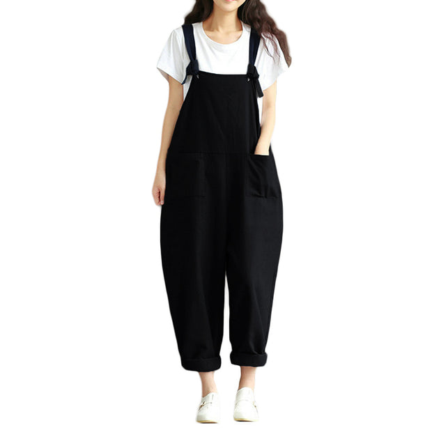 5XL Plus Size Salopette Women Loose Jumpsuit Overalls Solid Sleeveless