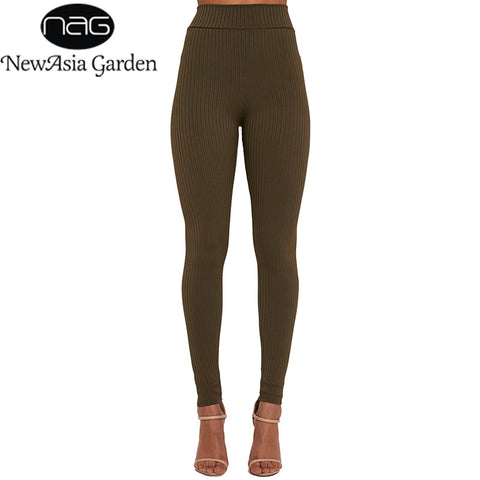 NewAsia Garden Good Elastic High Waisted Ribbed Leggings Stretchable 4 Season Knit Skinny Pants Trousers Black Green Yellow New