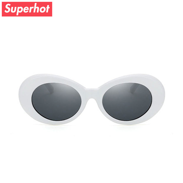 Superhot Eyewear - Kurt Cobain 90s-Style White Oval Sunglasses Men