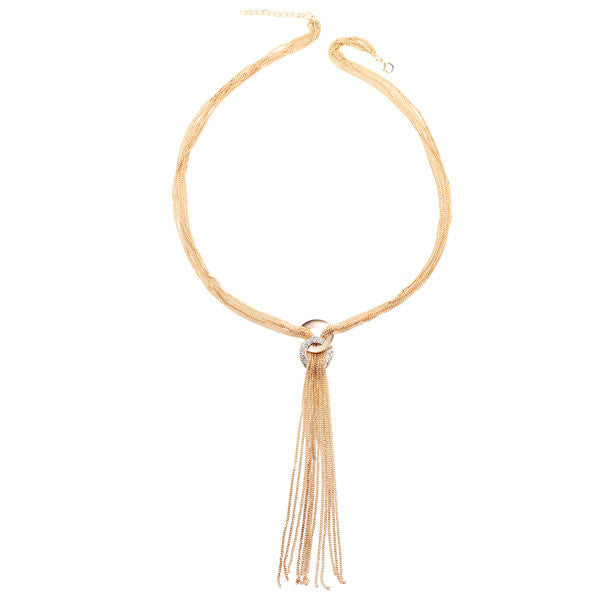 2017 Long Tassel Necklace Multilayer Choker Women Gold Color Crystal