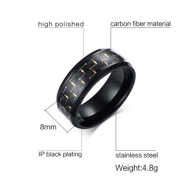Meaeguet Jewelry Simple Blue/Black Carbon Fiber Inlay Ring For Men