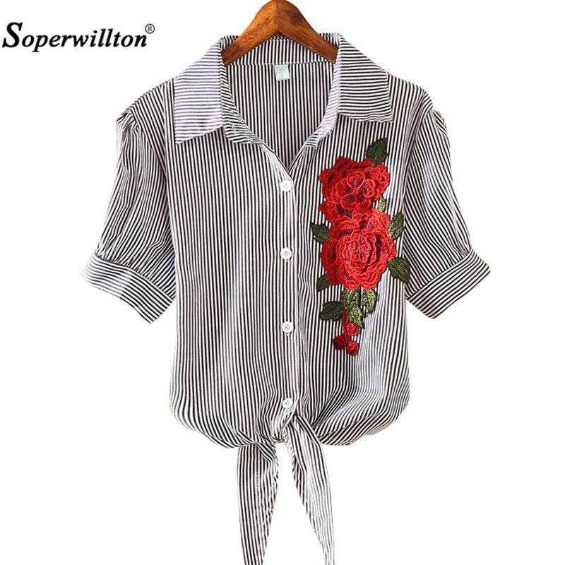 2017 New Summer Women Blouse Embroidered Floral Fashion Pinstripe Knot