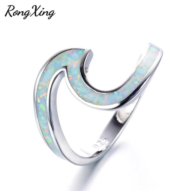 RongXing 925 Sterling Silver Filled White Fire Opal Wave Rings Women