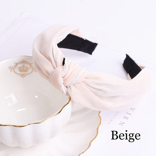 New Wide Edge Colorful Hairbands For Women Retro Bowtie Chiffon