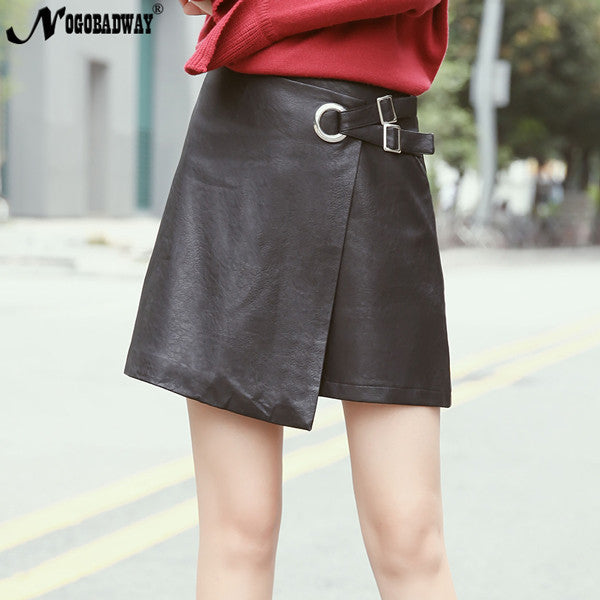 2017 autumn PU faux leather mini skirt women a-line short skirts