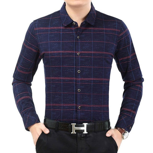 2017 new male fashion brand casual business slim fit men shirt