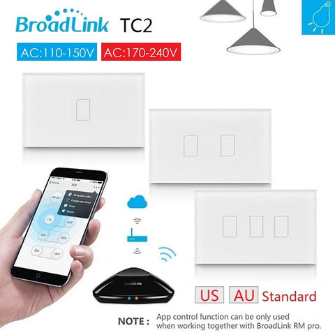 2017 Broadlink TC2 AU US Standard RF remote Switch work with RM Pro,AC110V 220V,smart home Automation,Support IOS Android Phone