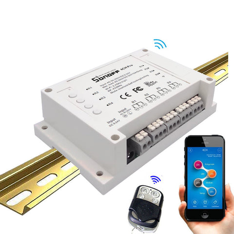 Sonoff 4CH Pro-4Gang Inching/Self-Locking/Interlock 433MHZ RF WiFi wireless Smart Switch for light home Automatio AC220V&DC5-24V
