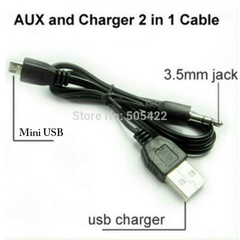 5pcs/lot 3.5mm Aux Audio to Mini USB Cable Cord Adapter Charger for iHome Mini Speaker New