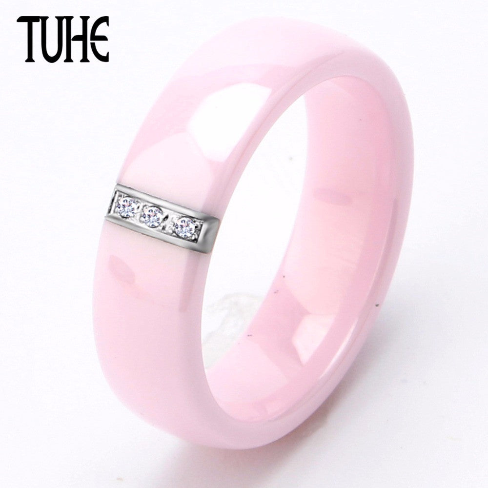 2017 6MM Pink Ring Women Crystal Stainless Steel Ceramic Engagement