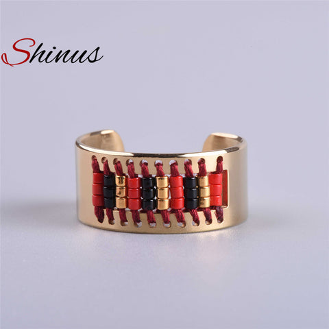Shinus Ring Men Rings Women Love Bague Jewelry Handmade Classic Pattern Stainless Steel Anillos Fashion Miyuki Seed Beads Beaded