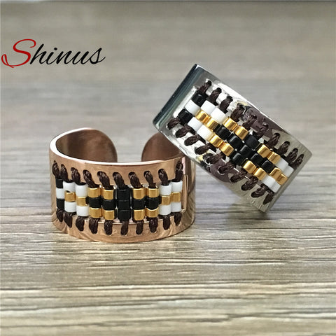 Shinus Rings Love Ring Women Men Wedding Jewelry Stainless Steel Aneis Miyuki Seed Beads Pattern 2018 New Fashion Anillo Bague