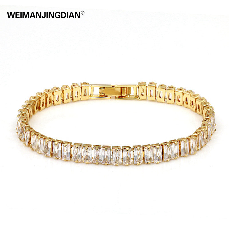 2017 New Arrive Top Quality Sparkly Rectangle Tennis Bracelets Cubic