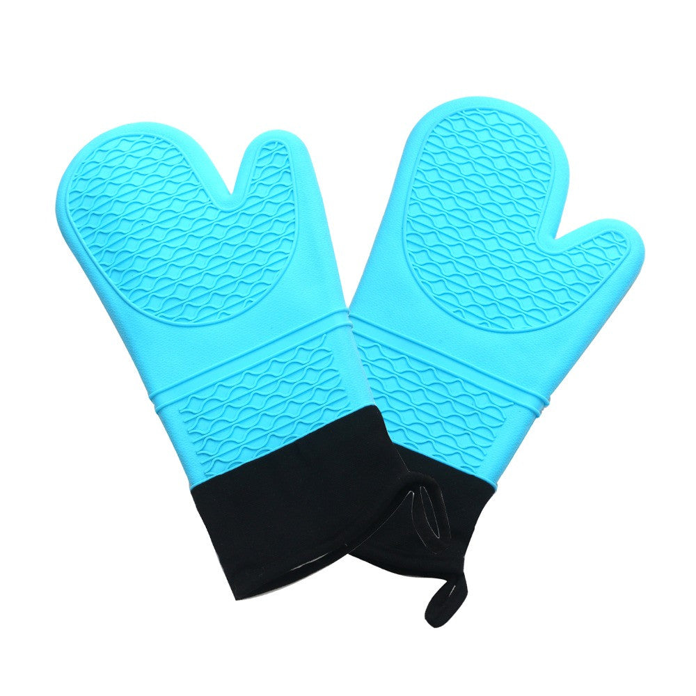 2 PCS Blue Silicone Oven Gloves 14 inchs Heat Resistant Grill
