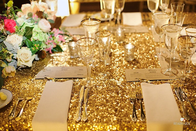 2017 New Gold Embroidered Sequin Tablecloth Rectangle 120x200cm Sequin
