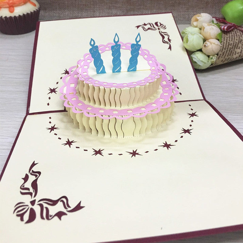 1pcs Birthday Cake 3D Handmade Pop Up Laser Cut Postcard Greeting Gift