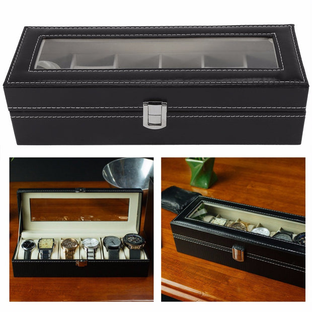 Luxury 6/3 Grid Leather Jewelry Box Watch Display Collection Storage