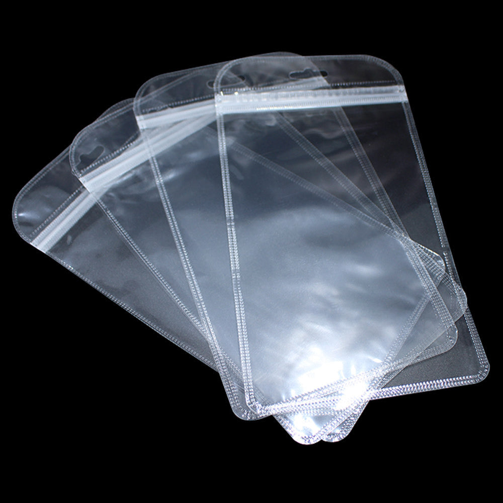 200pcs Clear Plastic Zipper Ziplock Bag with Hang Hole Zip Lock
