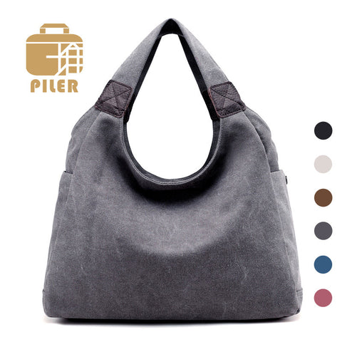 Fashion 2017 Women Casual Hobos Handbag Bags Female Famous Brands Canvas Shoulder Bags for Ladies Fashion Woman Simple Hand Bags