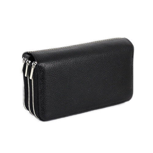 2017 New Arrival 3 Zipper Phone Bag Men Clutch Bags Cow Genuine