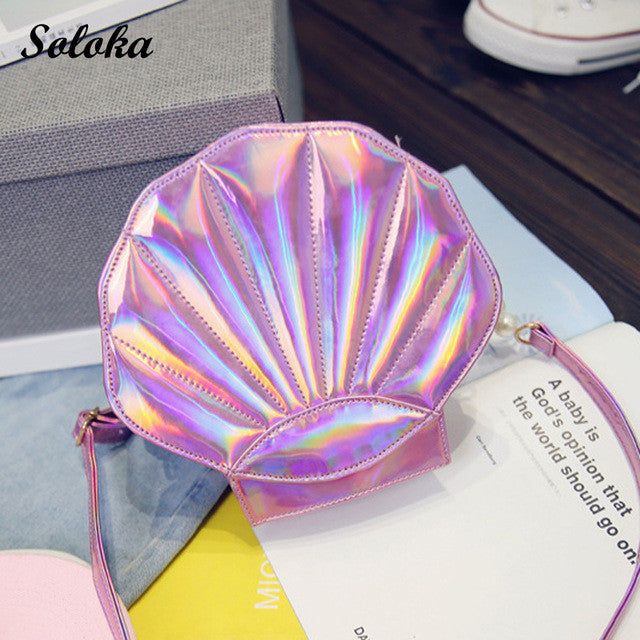 2017 New Fashion Laser Shell Chain Shoulder Bag Girls Pearl Purse