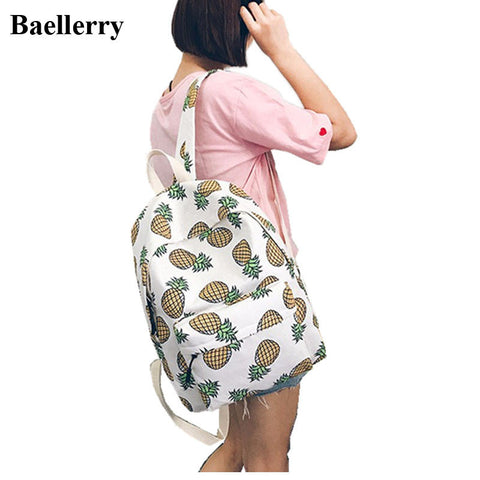 Brand Designer Fashion Canvas Backpacks Women Pineapple Fruit Pattern Backpacks For Teenager Girls Shool Bags Female Travel Bags