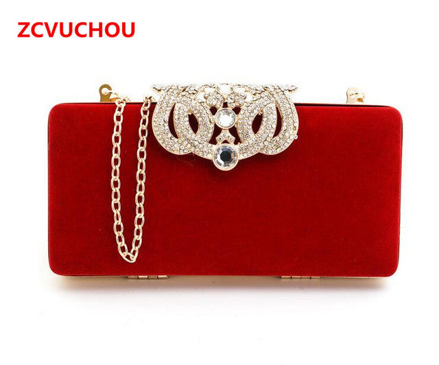 2017 Clutch evening bags Crown rhinestones evening bags purse shoulder