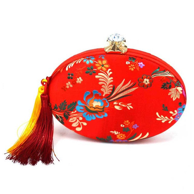 Yellow embroidery Chinese style Evening Clutch Bag Aquamarine Floral