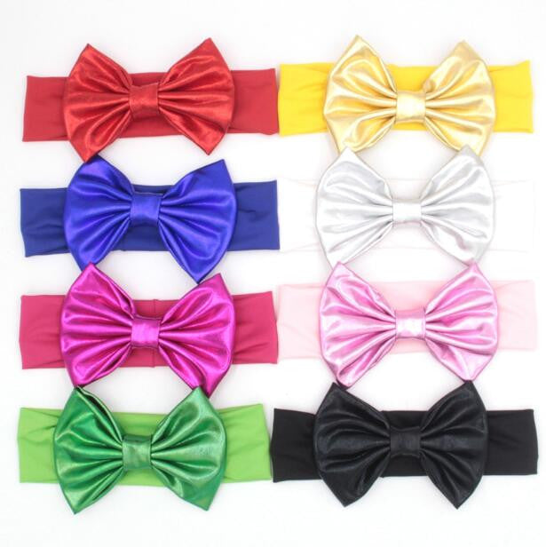 10pcs/lot 5'' Metail Bow Elastic Headband For 2017 Girls Headwrap Hair