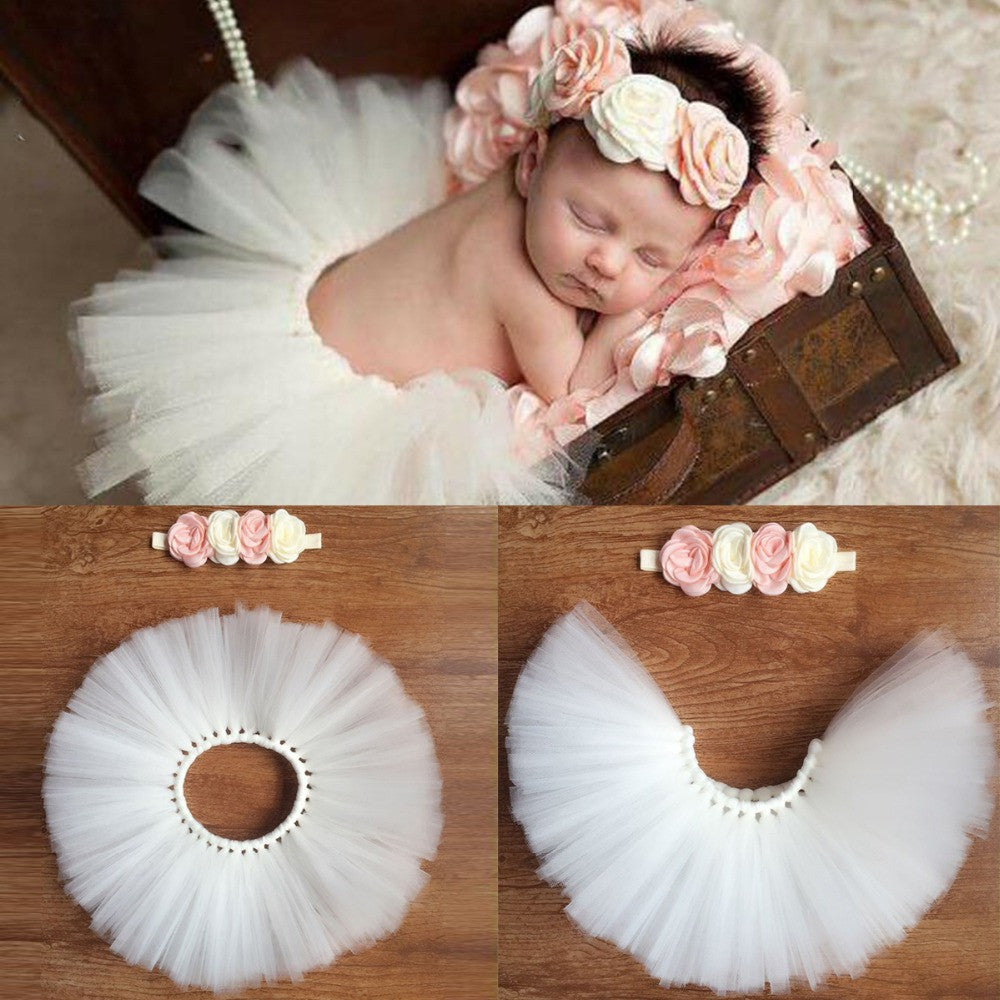 2 Pcs Girls Baby Tutu Skirts And Princess Headband Photography Sets