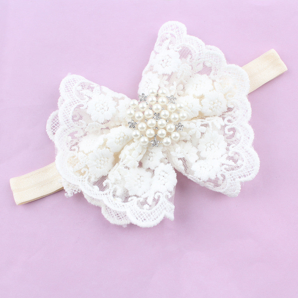 10pcs New Lovely Kids Headband Rhinestone Pearl Lace Bow Headbands