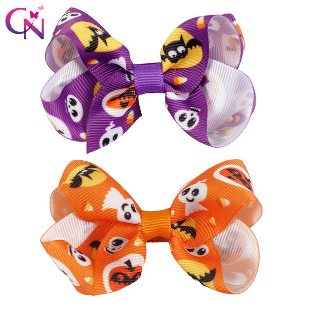 "20 Pieces/lot 3"" Halloween Hair Bows With Hair Clips For Kids Girls"