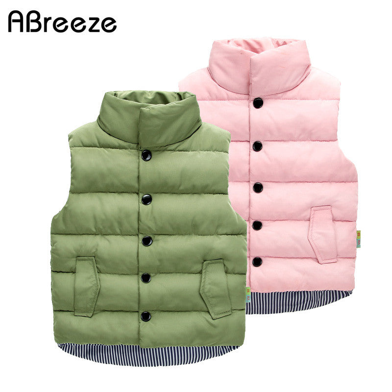 2017 New autumn winter children waistcoats casual solid green pink