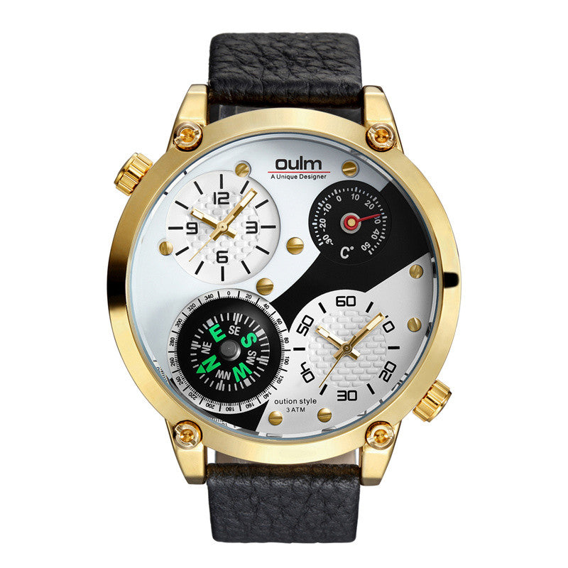 Oulm New Sports Watches Men Luxury Brand Decorative Compass and