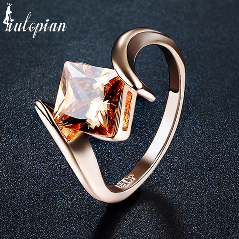 Iutopian Brand Fashion Rings For Women With Top Quality Brown Crystal