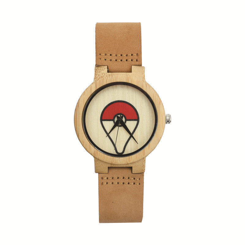 2017 Hot Fashion Popular Pockemon Pattern Watch Nature Wood Original