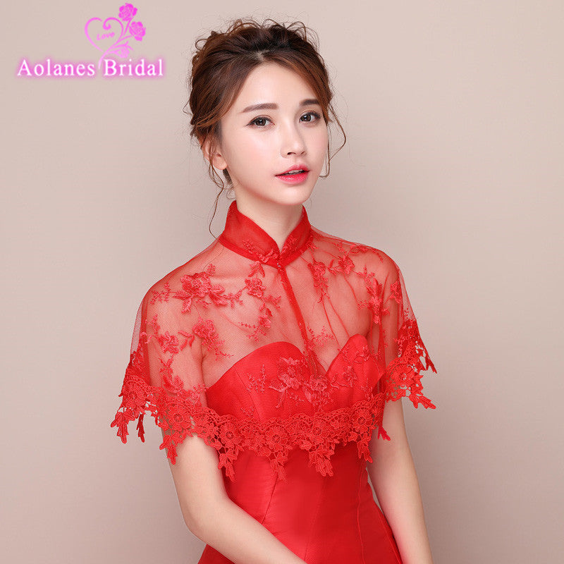 2017 New Arrival Top Sale Red Off the Shoulder Lace Bolero Jacket