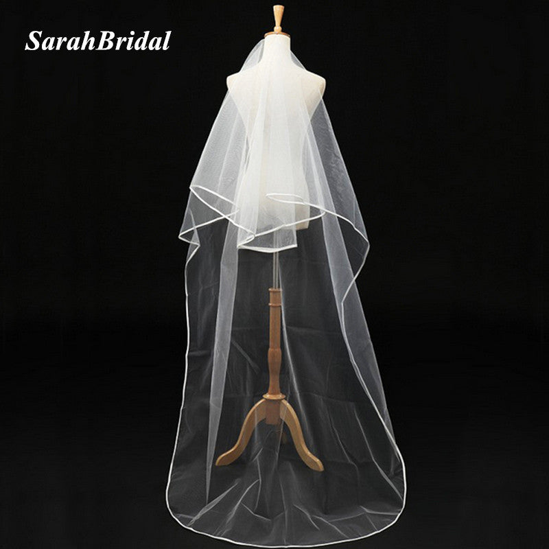 2017 Cheap In Stock White Ivory Bridal Wedding Veil with comb 2T