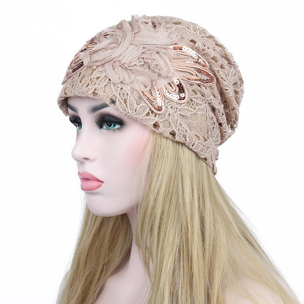 Autumn Winter 5 Colors Hollow Women's Hat Lace Flower Beanie Scarf Cap