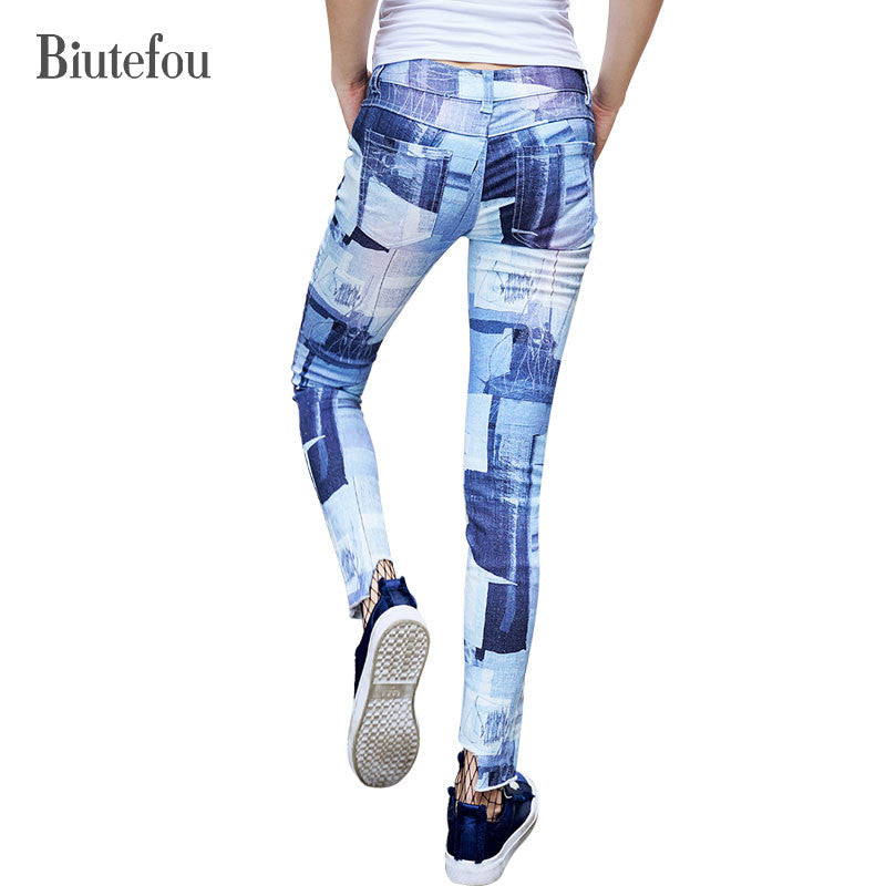 2017 New arrival autumn fashion Graffiti skinny Jeans women vintage