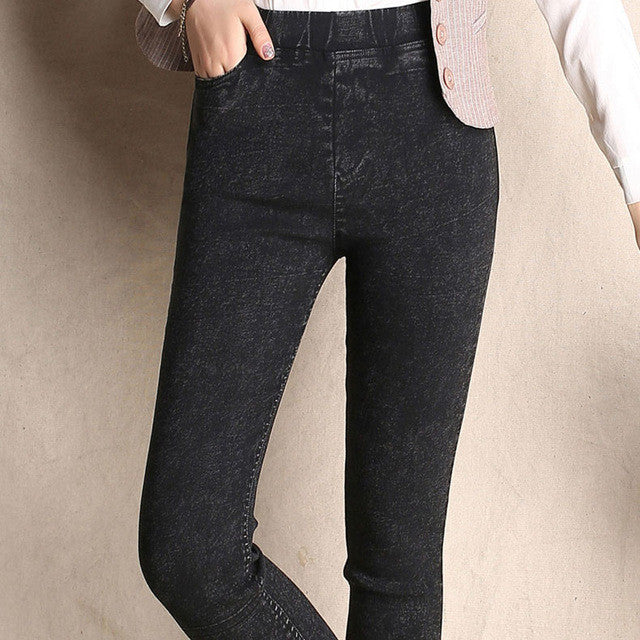 2017 Autumn Newl Women Stretch Fabric and Waist Jeans Pencil Pants
