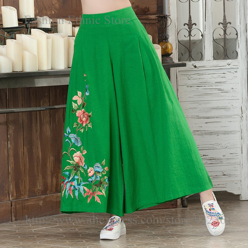 2017 Floral Embroidery Wide Leg Women Pants Loose body Cotton Linen