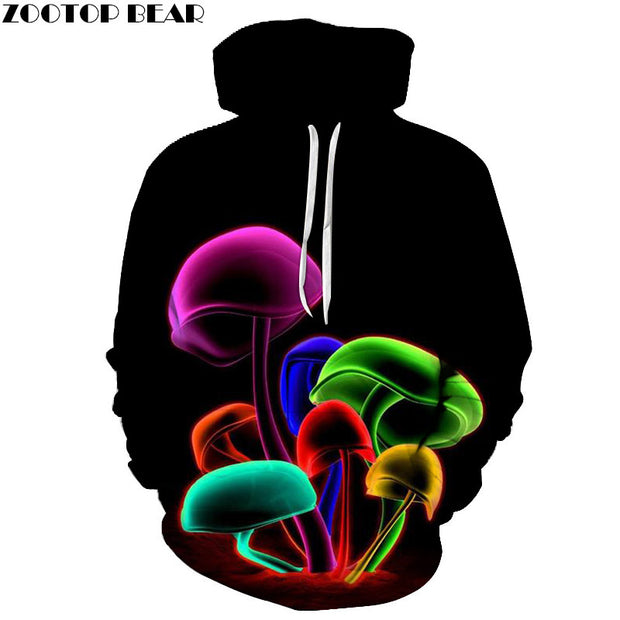 Novelty Sweatshirts Women Mushroom Printed Pocket Hoodies Fashion